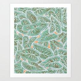 Tropical Caladium Leaves Pattern - Green Art Print