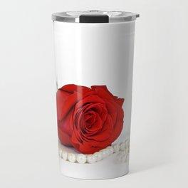 Rose, lipstick and pearls Travel Mug
