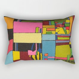 Colors in Collision 2 - Geometric Abstract in Blue Yellow Pink and Green Rectangular Pillow