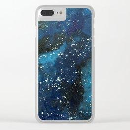 Blue Nebula Clear iPhone Case