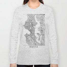 Seattle White Map Long Sleeve T-shirt