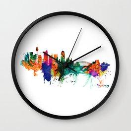Sydney watercolor skyline Wall Clock