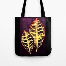 Two Colorful Leaves Tote Bag