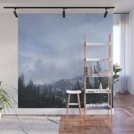 Snowy Peaks Above a Green Forest in Victoria, B.C. (Canada) Wall Mural