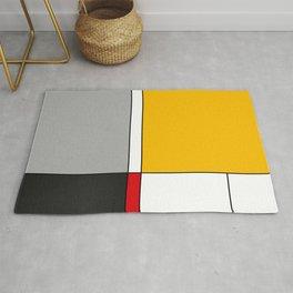 Mid century Modern yellow gray black red Rug