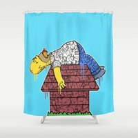 homer Shower Curtains featuring Homer (Snoozy Edition) by wedrawpop