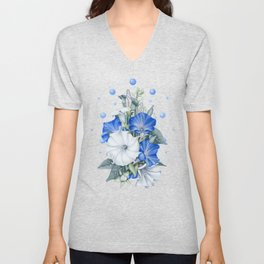 Morning Moon Flower Unisex V-Neck