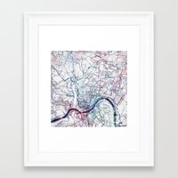 cincinnati Framed Art Prints featuring Cincinnati map by MapMapMaps.Watercolors