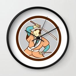 Samurai Warrior Katana Sword Circle Cartoon Wall Clock