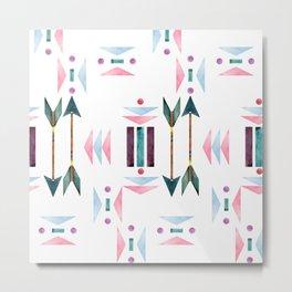 Watercolour Tribal Arrows Pattern Metal Print