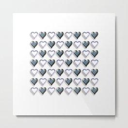 Heart WAVE Black /White Metal Print