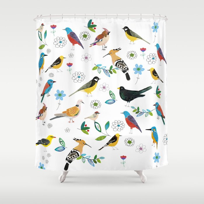 Polish Birds Shower Curtain