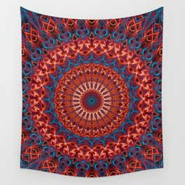 Detailed mandala in red and blue Wall Tapestry