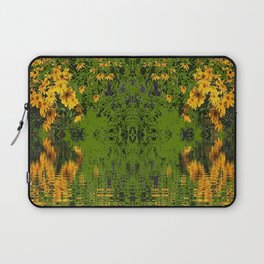 GREEN YELLOW RUDBECKIA DAISIES WATER REFLECTIONS Laptop Sleeve