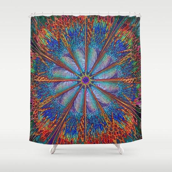 Mandala - Fire Wheel Shower Curtain