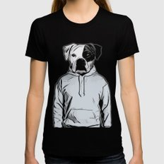 Cool Dog Black SMALL Womens Fitted Tee