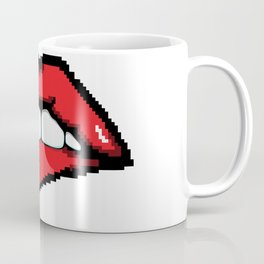 Biting the lower lip. Coffee Mug