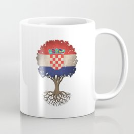 Vintage Tree of Life with Flag of Croatia Coffee Mug