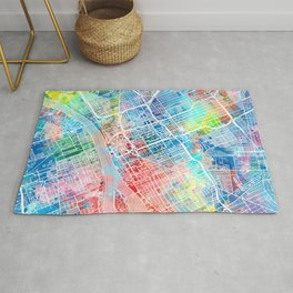 detroit map watercolo Rug
