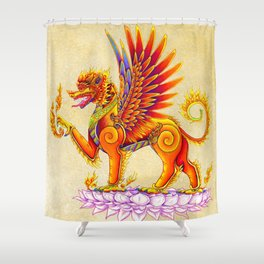 Singha Winged Lion Temple Guardian Shower Curtain