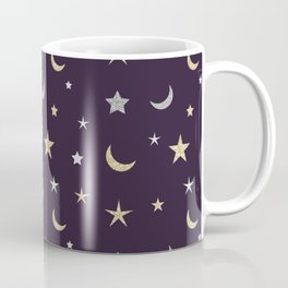 Gold and silver moon and star pattern on purple background Coffee Mug