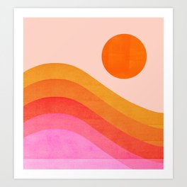 Abstraction_SUNSET_OCEAN_COLOR_POP_ART_Minimalism_009D Art Print