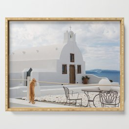 Santorini Image with White Church and Orange Cat in Oia Serving Tray