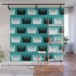 Mid Century Modern Abstract Flowers Teal Wall Mural