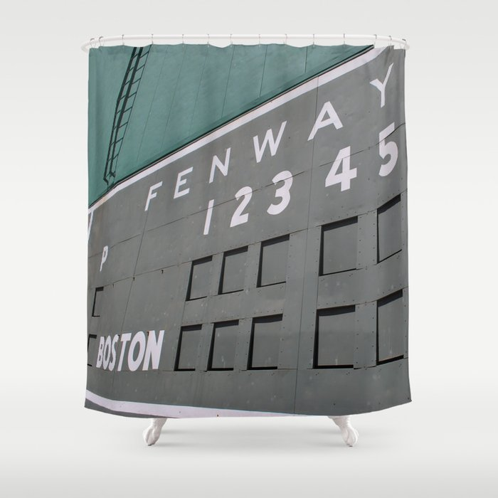 Fenwall Boston Fenway Park Wall Green Monster Red Sox Shower Curtain