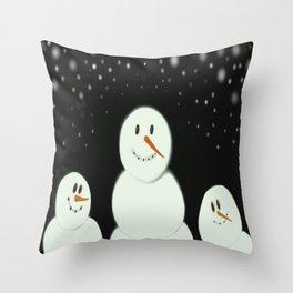 The Snowmen Family Throw Pillow