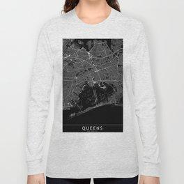 Queens Black Map Long Sleeve T-shirt