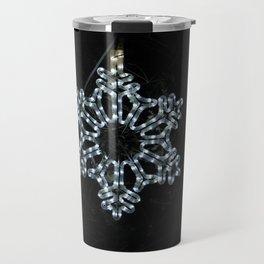 Christmas Snowflake in Ice Blue Travel Mug