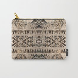 Ethnic Geometric Bark and Wood texture pattern Carry-All Pouch