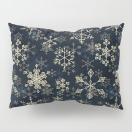 Snowflake Crystals in Gold Pillow Sham