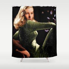 Classic Veronica Lake Portrait in Green - Jeanpaul Ferro Shower Curtain