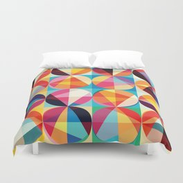 Beautiful colors Geometry, geometric abstract triangles circles squares Duvet Cover