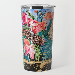 Tropical Banksia Bouquet after Matisse in Greek Boar Urn on Pale Painterly Blue Travel Mug