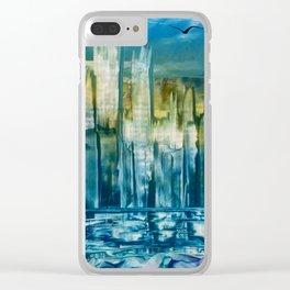 Blue City Encaustic Clear iPhone Case