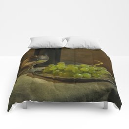 Still life with wine and green grapes Comforters