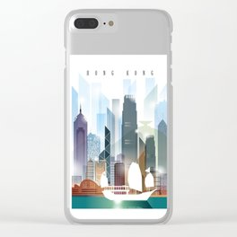 The city skyline of Hong Kong Clear iPhone Case