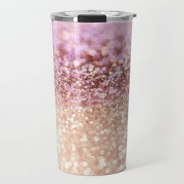 Mermaid Rose Gold Blush Glitter Travel Mug