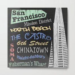 San Francisco Tourism Poster Metal Print