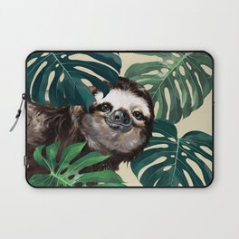 Sneaky Sloth with Monstera Laptop Sleeve