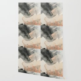 Peace and Quiet [2]: a pretty, minimal abstract piece in gray and peach by Alyssa Hamilton Art Wallpaper