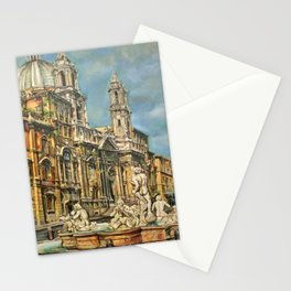 Piazza Navona fountain through oil without restoration Stationery Cards