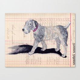 Vintage Celluloid Dog in Gouache Canvas Print