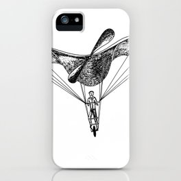 Man on a flying machine iPhone Case