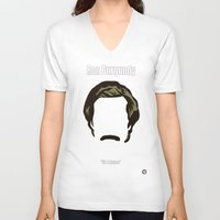 burgundy V-neck T-shirts featuring Ron Burgundy: Anchorman by BC Arts