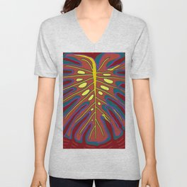 Monstera Flying to Autumn Unisex V-Neck