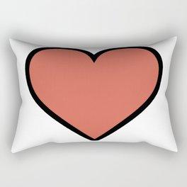 Bold Living Coral Heart Shape Digital Illustration, Minimal Art Rectangular Pillow